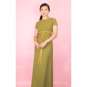 (251) VTG 1970s Boho Green maxi Dress